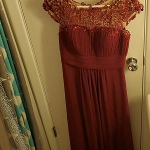 Burgandy Bridesmaids Prom Dress